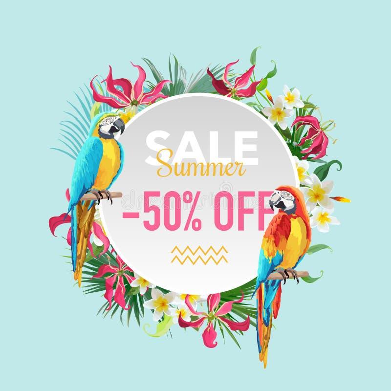 Fiori tropicali di vendita di estate ed insegna esotica degli uccelli dei pappagalli, per il manifesto di sconto, vendita di modo illustrazione vettoriale