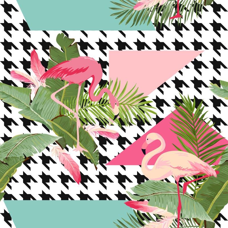 Fiori tropicali senza cuciture e modello geometrico di estate del fenicottero, fondo grafico, carta da parati floreale esotica o  illustrazione vettoriale