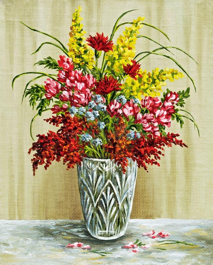 Fiori in un vaso a cristallo illustrazione di stock