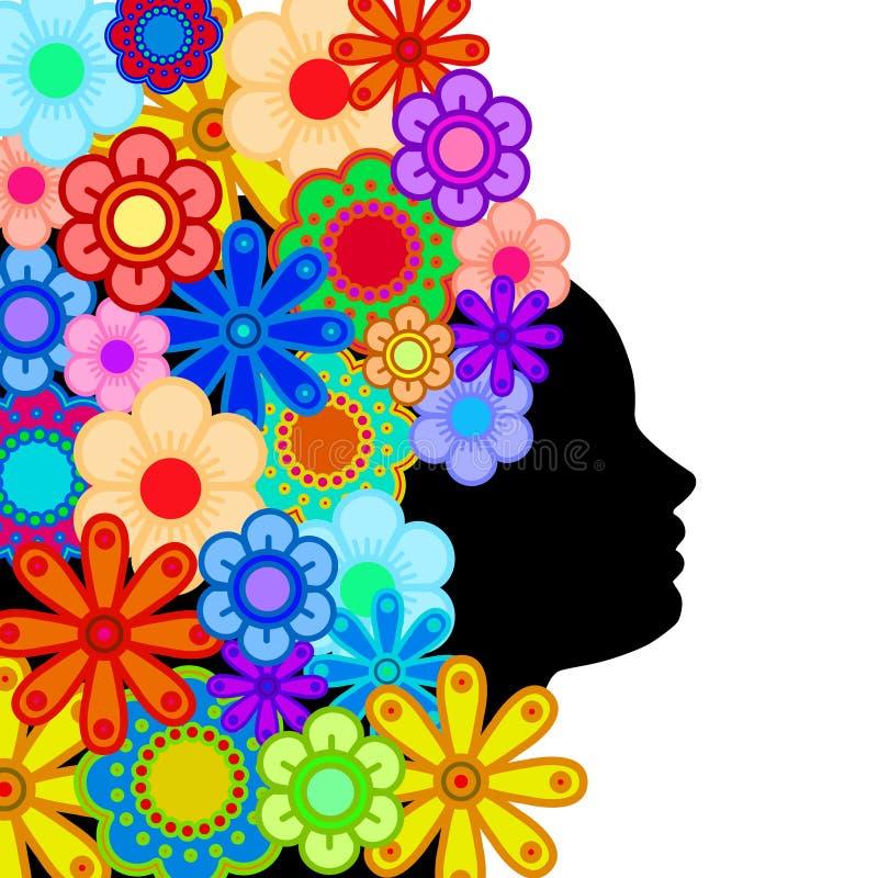 Fiori variopinti dei capelli della siluetta del fronte della donna illustrazione di stock