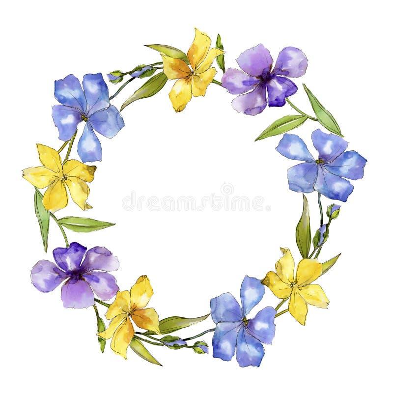Fiori variopinti del lino dell'acquerello Fiore botanico floreale Quadrato dell'ornamento del confine della pagina illustrazione vettoriale