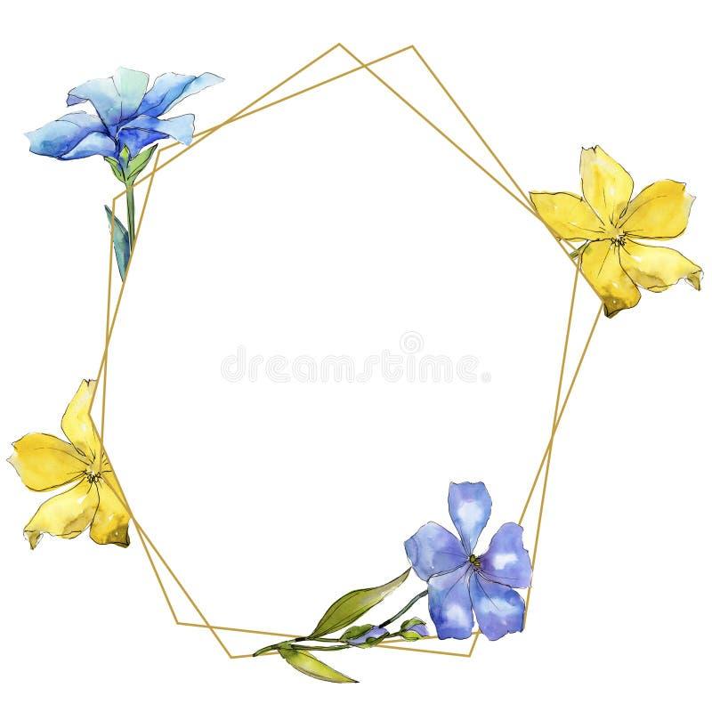 Fiori variopinti del lino dell'acquerello Fiore botanico floreale Quadrato dell'ornamento del confine della pagina illustrazione di stock