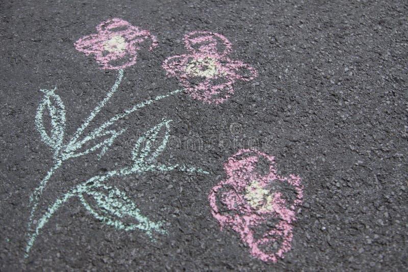 Fiori variopinti estratti con gesso su asfalto grigio immagini stock libere da diritti