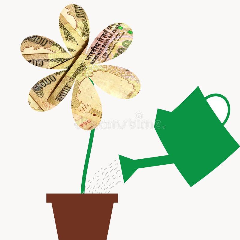 Fiorisca con i petali di valuta dei soldi della rupia dell'India in vaso di fiore, illustrazione per dimostrare come coltivare i  illustrazione di stock
