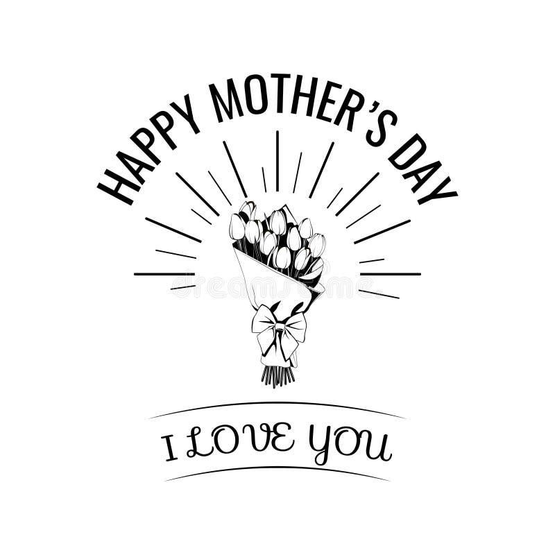 Fiorisca il mazzo con la carta di regalo felice del giorno della madre s Vettore illustrazione vettoriale