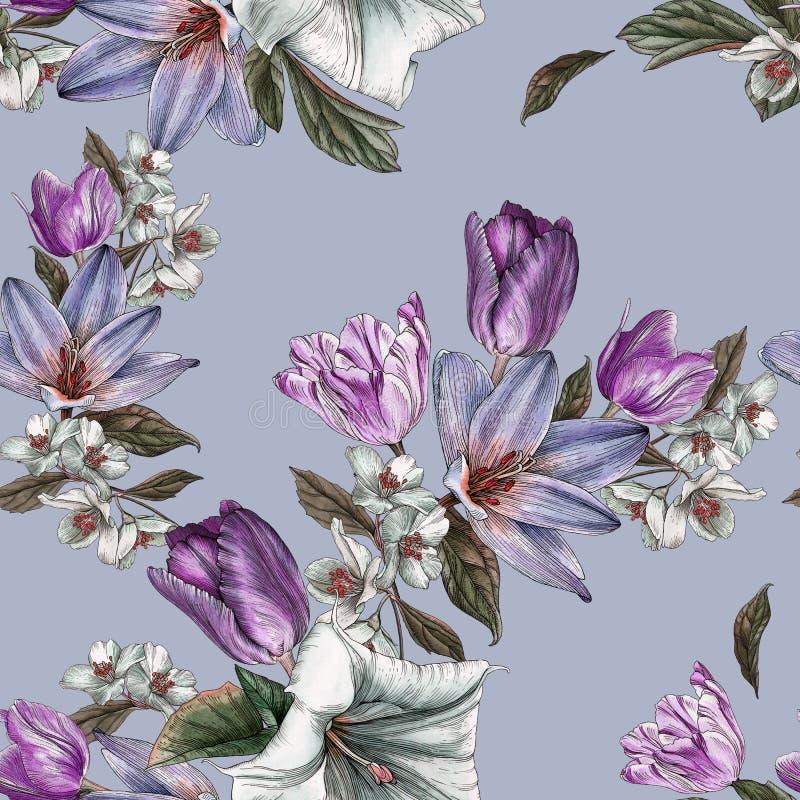 Fiorisca il modello senza cuciture con i tulipani ed il gelsomino dell'acquerello illustrazione vettoriale