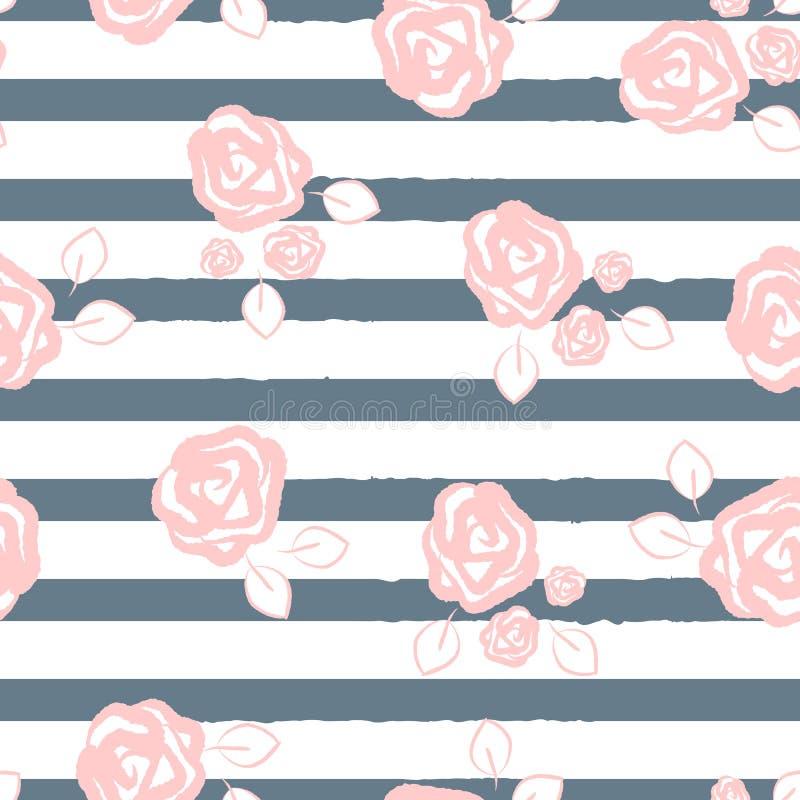 Fiorisca il modello senza cuciture con le belle rose e le foglie estratte a mano Priorità bassa a strisce royalty illustrazione gratis