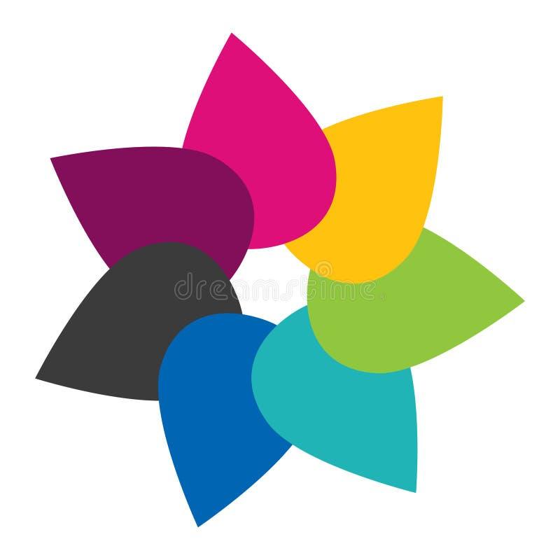 Fiorisca l'icona, sette strappi di colore come i petali del fiore illustrazione di stock