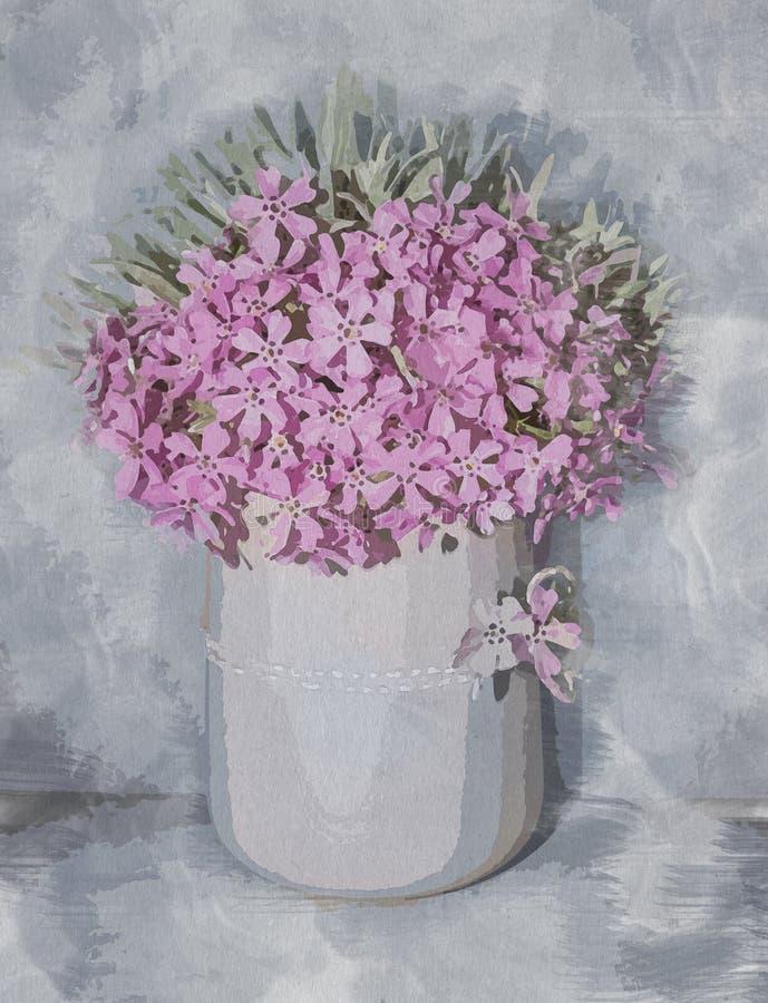 Fiorisca la composizione, l'acquerello, mazzo floreale dipinto nei colori morbidi e pastelli con i fiori di rosa del primo piano  illustrazione di stock