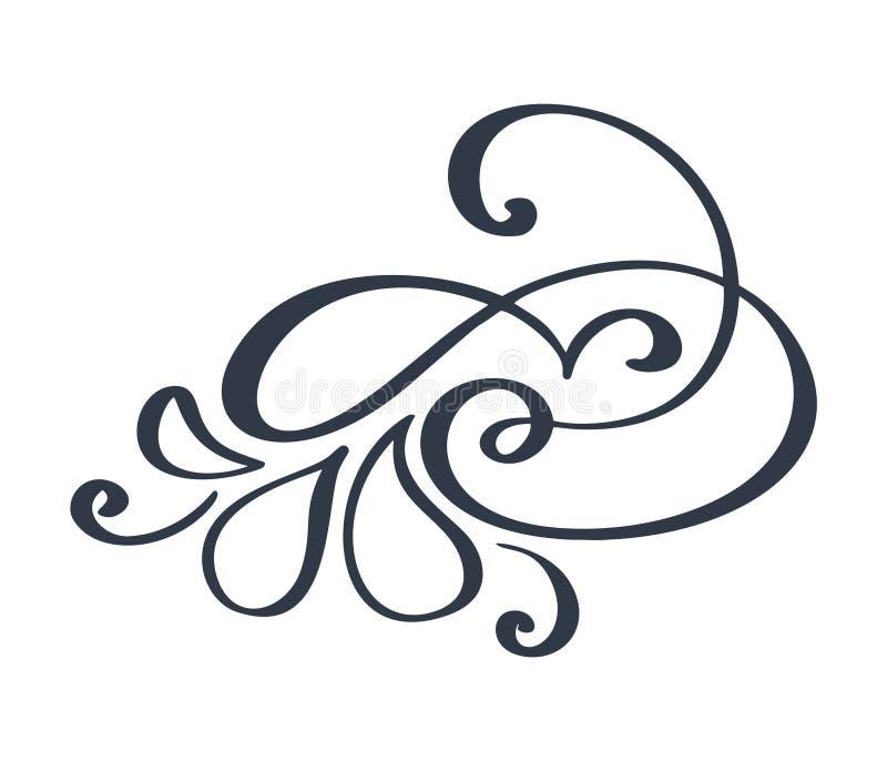 Fiorisca la decorazione decorata di turbinio per stile aguzzo di calligrafia dell'inchiostro della penna Flourishes della penna d royalty illustrazione gratis