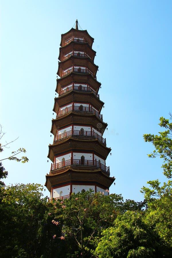 Fiorisca la pagoda di un tempio di sei alberi di banyan immagine stock