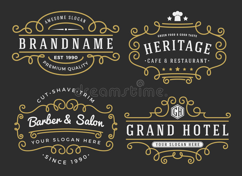 Fiorisca la struttura per le etichette, l'insegna, logo royalty illustrazione gratis