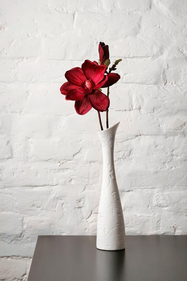 Fiorisca nel vaso bianco sulla tabella fotografia stock