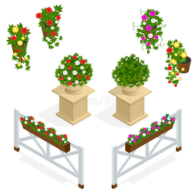 Fiorisce l'icona Elementi di progettazione per il caffè Elementi isometrici dei fiori di vettore per architettura del pæsaggio Ba illustrazione vettoriale