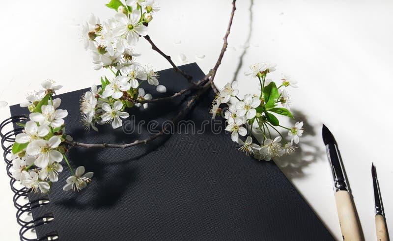 Fiorisce la ciliegia con il taccuino e le spazzole neri immagini stock