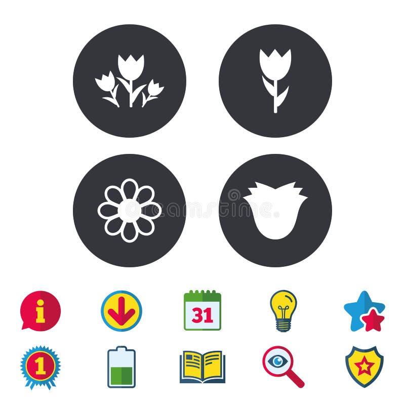 Fiorisce le icone Mazzo del simbolo delle rose illustrazione di stock