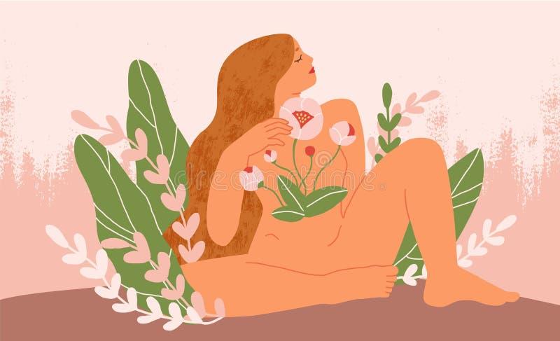 Fioritura femminile dall'interno di un'illustrazione vettoriale piatta Donna nuda con fiori che cresce dal petto ragazza con cape illustrazione vettoriale