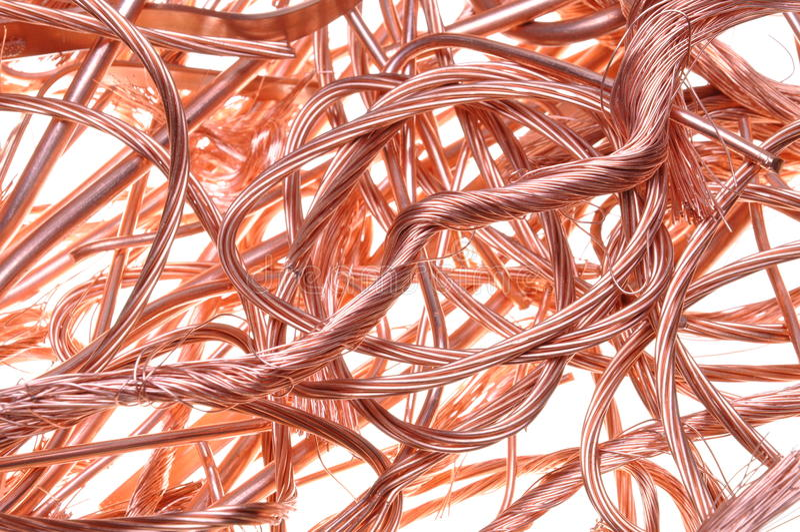 Fios de cobre da sucata fotos de stock royalty free