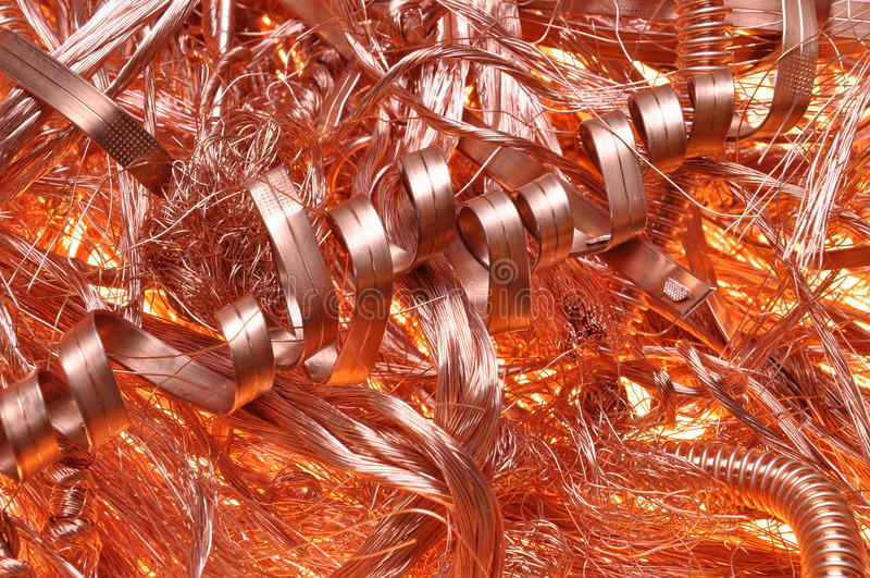 Fios de cobre da sucata imagem de stock royalty free