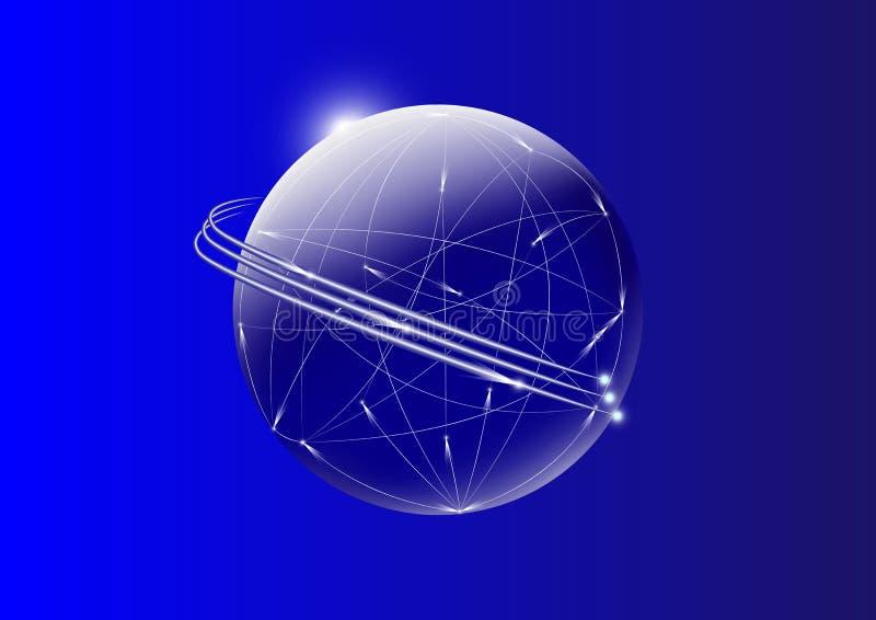Fios de uma comunicação através do globo com luz movente no fundo azul ilustração do vetor