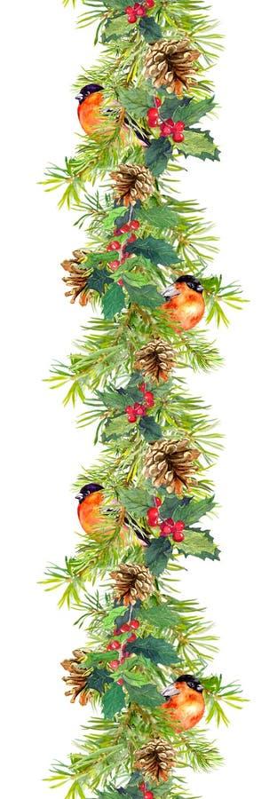 Fir border - christmas tree branches, cones, mistletoe, red bird. Watercolor frame. Fir border - christmas tree branches, cones, mistletoe and red bird stock photo