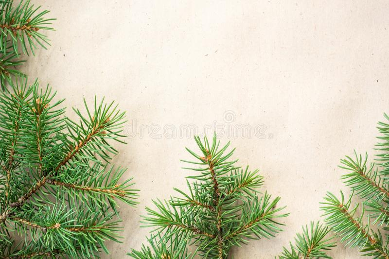 Fir branches border on light rustic background, good for christmas backdrop.  royalty free stock photo