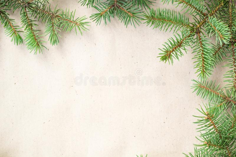 Fir branches border on light rustic background, good for christmas backdrop.  stock image