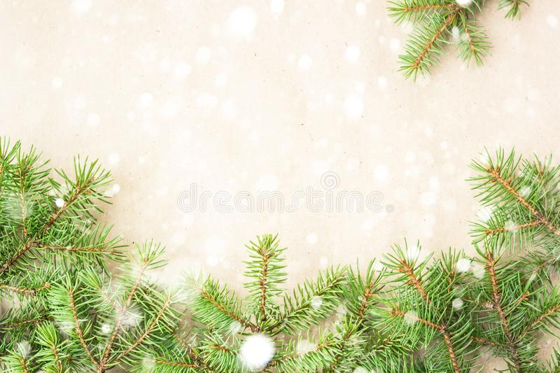 Fir branches border with snow on light rustic background, good for christmas backdrop.  stock images