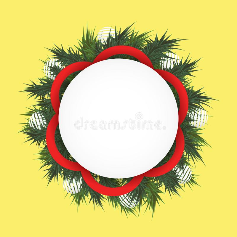 Christmas background with fir branches in a circle, the white balls and red ribbon. Round field for text royalty free stock photos