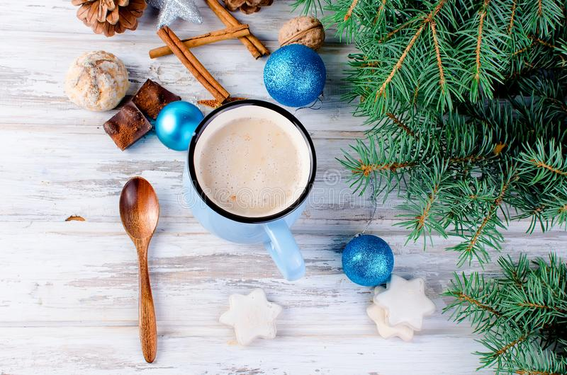 fir pine cones cocoa blue cup old wooden backgrou christmas traditional hot drink branches background evening card 100977130 Blue Max Coffee Christmas Card With Hot Cup Of Coffee Stock Image Image
