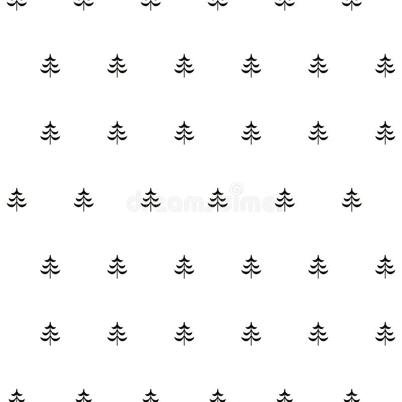 Fir stylised tree seamless monochrome pattern royalty free illustration
