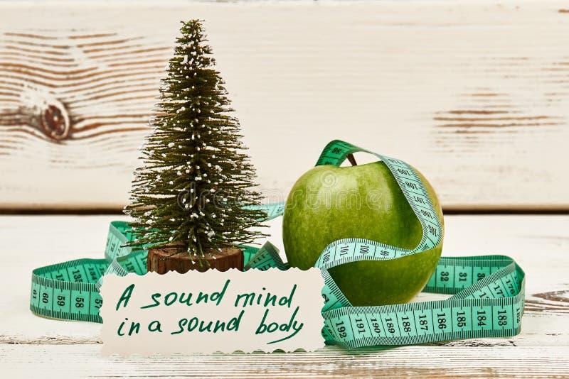 Fir-tree, μήλο και παροιμία στοκ εικόνες με δικαίωμα ελεύθερης χρήσης