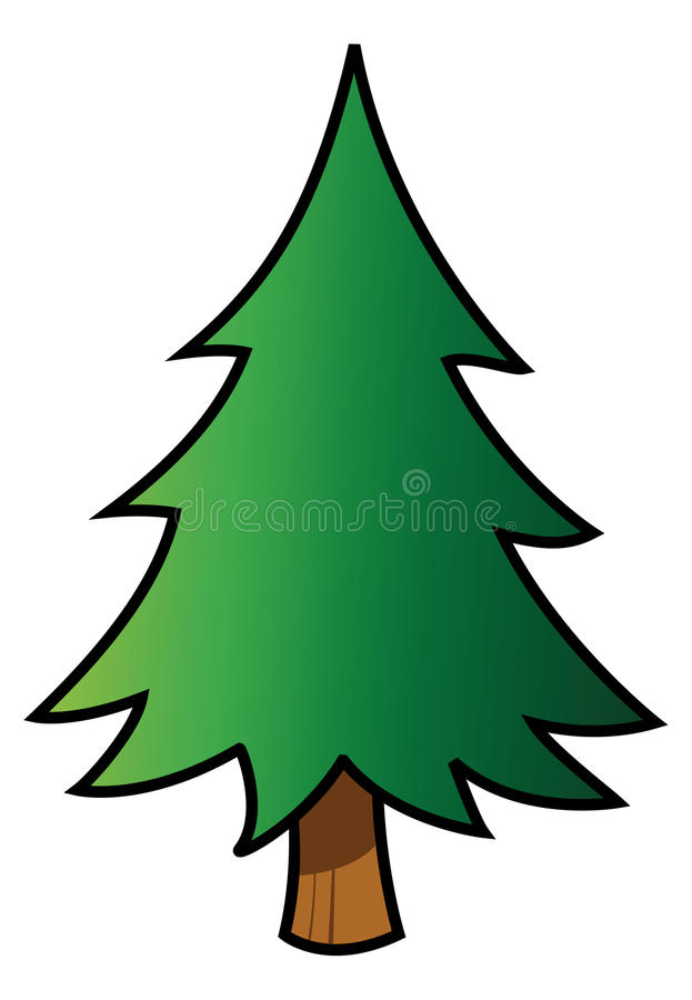 Fir tree. Cartoon vector illustration of a fir tree stock illustration