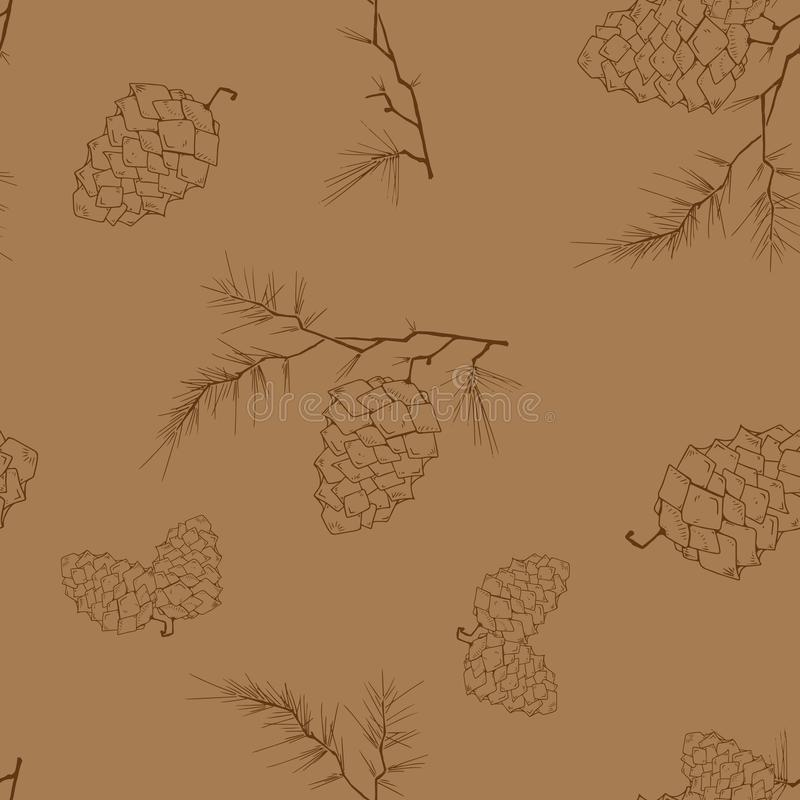 Fir-tree branch with a cone seamless pattern. Vector illustration of a pine cone on a pine branch. Fir-tree branch with a cone royalty free illustration