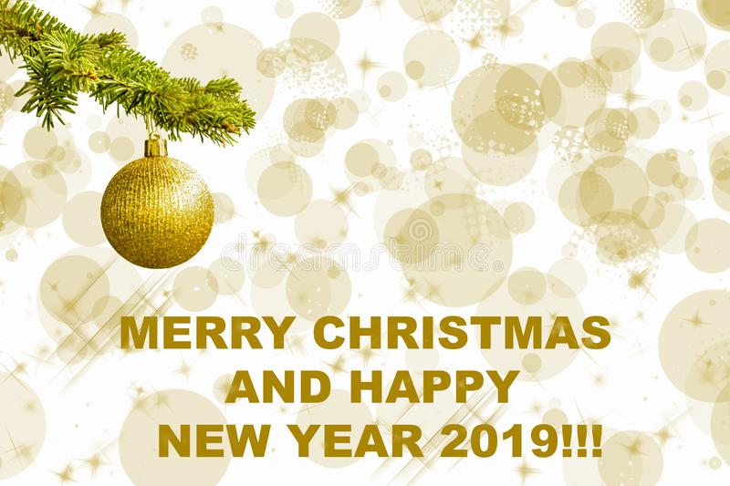 Fir tree branch with a golden glitter ball on white background. Bokeh effects. Christmastime. Christmas postcard. `Merry Christmas and happu New Year royalty free illustration