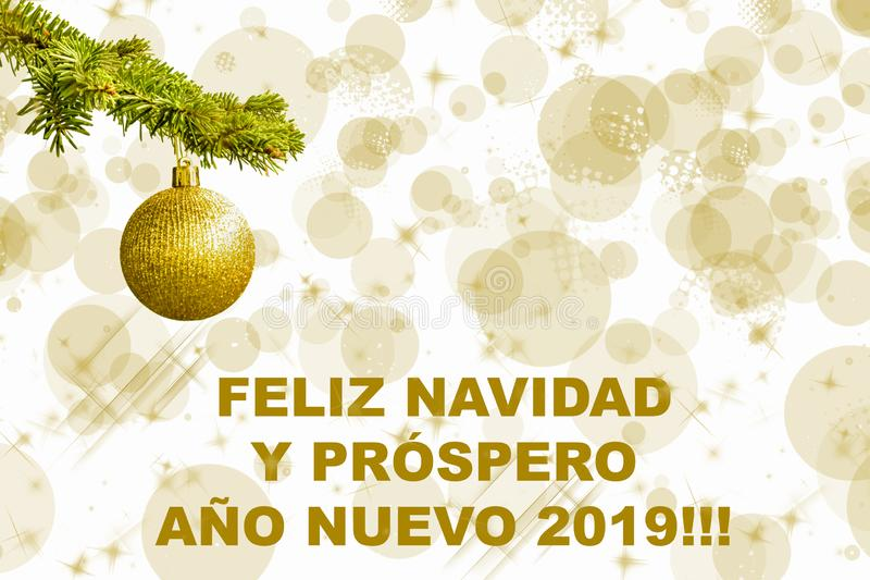 Fir tree branch with a golden glitter ball on white background. Bokeh effects. Christmastime. Christmas postcard. Feliz Navudad. Fir tree branch with a golden royalty free illustration