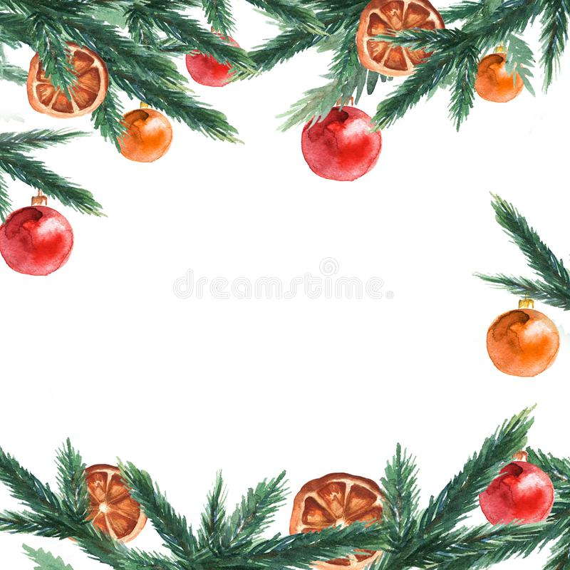 Fir tree branches border with christmas balls. Christmas and New year card, empty blank. Watercolor. stock illustration