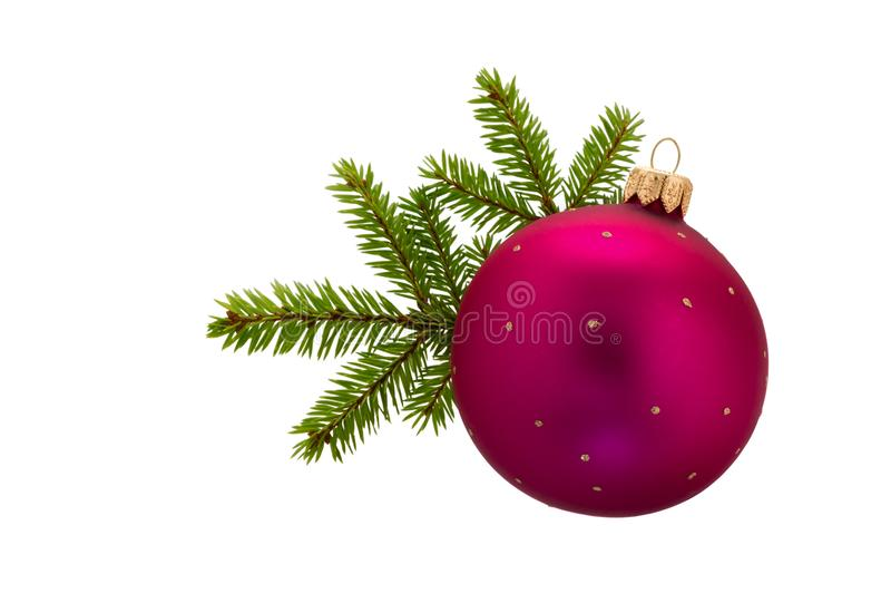 Fir tree branches with Christmas ball. Christmas decoration royalty free stock photography