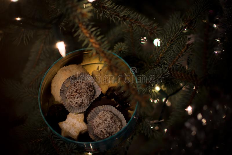 Fir tree with Christmas bokeh lights. Christmas cookies on decorated can powdered with castor sugar. stock photo