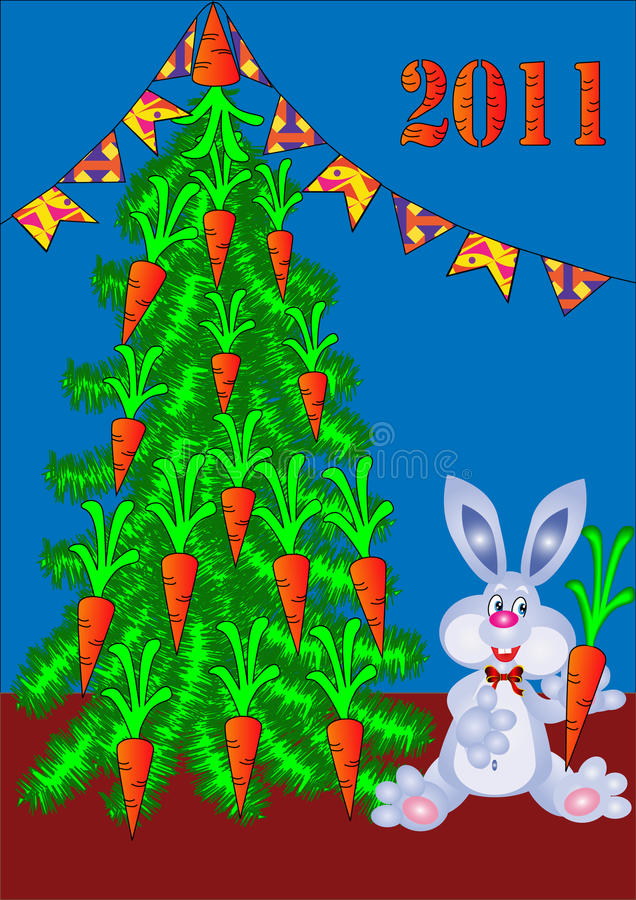 Fir tree decorated by carrot and rabbit. Illustration fir tree decorated by carrot and rabbit with carrot stock illustration