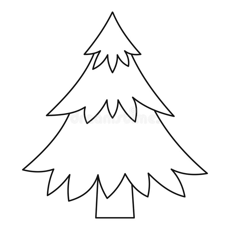 Fir tree outline icon stock vector. Illustration of ...