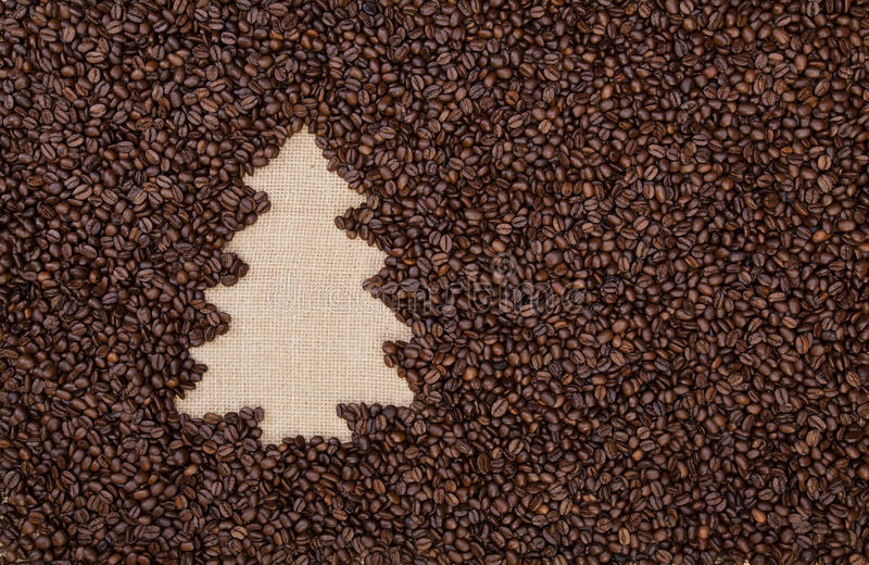 Fir tree made of coffee beans royalty free stock photography