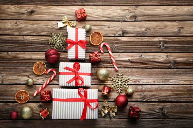 Fir-tree made from gift boxes royalty free stock photos