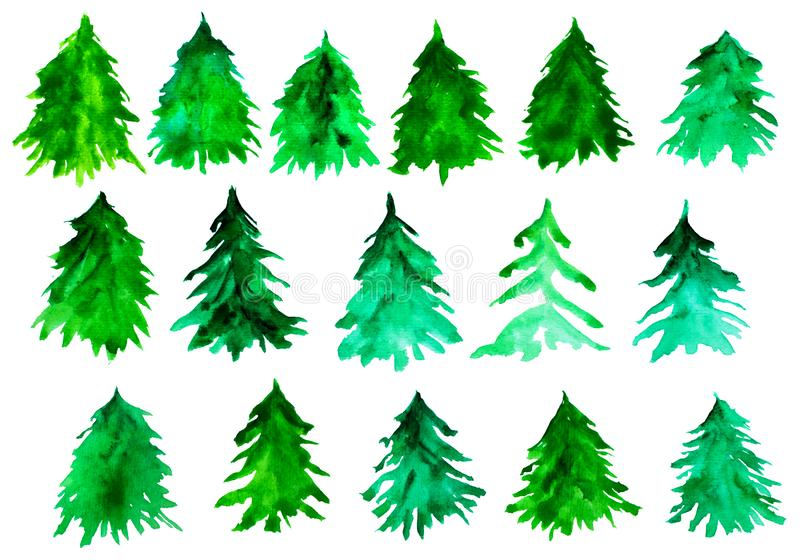 Fir tree silhouettes. Green christmas trees. Watercolor spruces isolated on white background. stock images