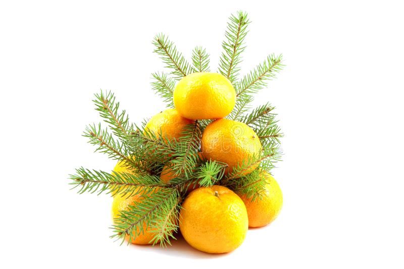 Fir-tree from tangerine with green branches royalty free stock photo