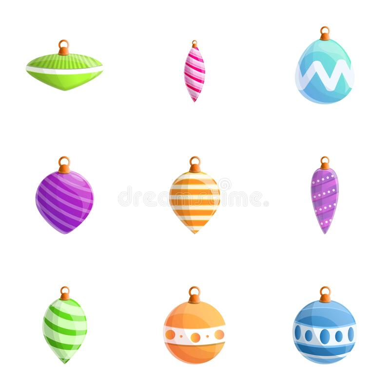Fir tree toys icon set, cartoon style. Fir tree toys icon set. Cartoon set of 9 fir tree toys vector icons for web design isolated on white background royalty free illustration