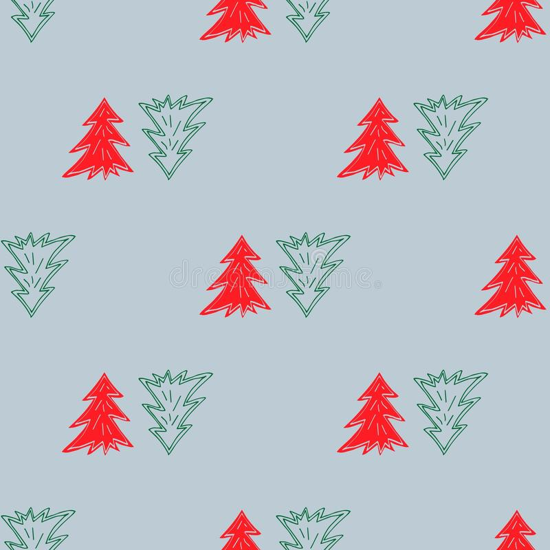 Fir trees seamless pattern for decor, wrapping papers, ec vector illustration
