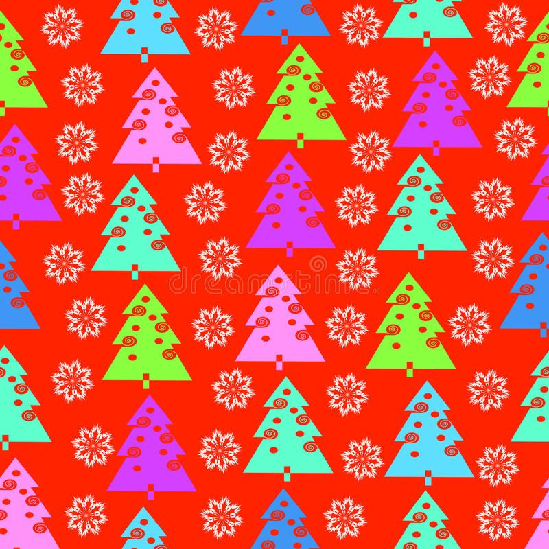 Fir-trees and snowflakes stock image