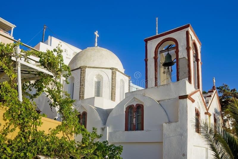 Fira的, Santorini Fira教会 免版税库存图片