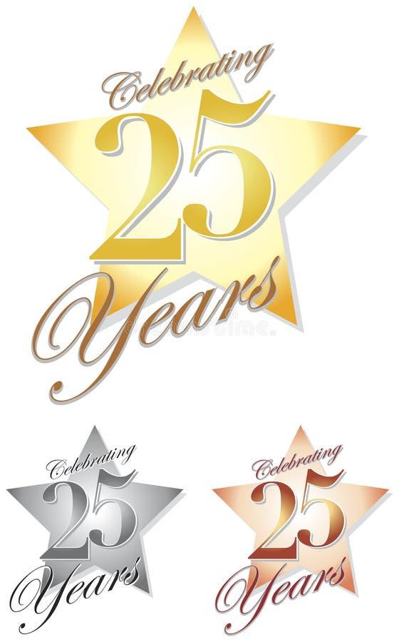 Fira 25 år/eps vektor illustrationer
